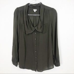 ODILLE ARMY OLIVE GREEN BUTTON FRONT BLOUSE